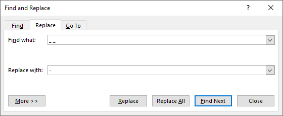 Find and Replace command in Microsoft Word.