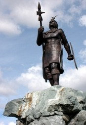 Statue of the Inca Emperor Huayna Capac in Cuenca, Ecuador.