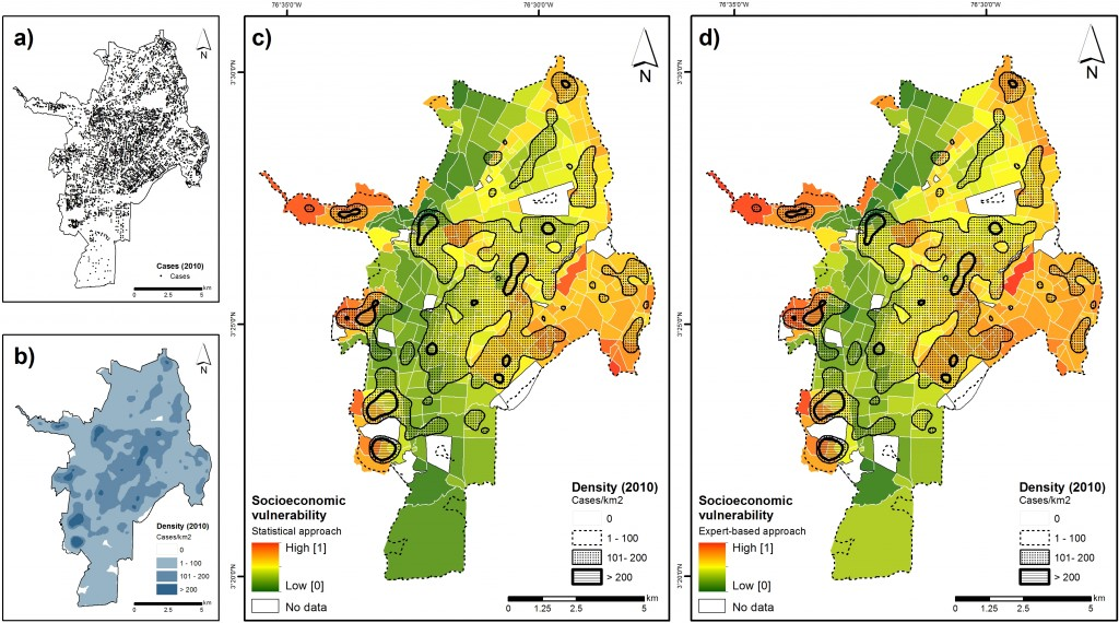 Spatial distribution of dengue cases (January-December, 2010), in (a). Density map in (b). The dengue density layer is displayed on top of the two vulnerability maps (Figures (c) and (d)) to enable a visual comparison of vulnerability at the neighborhood level.