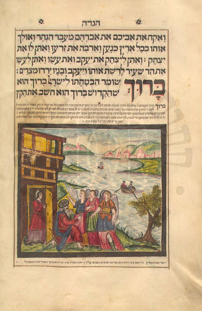 Abraham receiving three visitors  Haggadah Ms. 445  Klau Library  Hebrew Union College-Jewish Institute of Religion