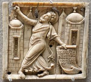 Prophet Joel, ivory, Louvre AC864