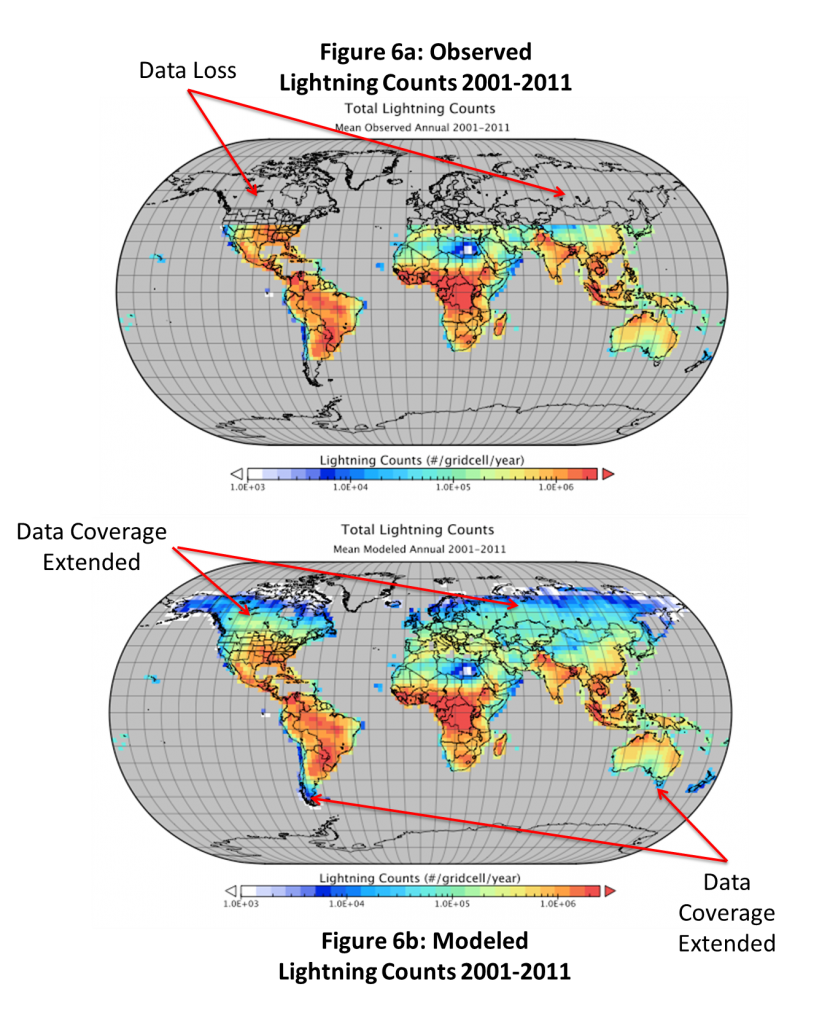 Global lightning map before D. Cunningham's research (top) and after (bottom).  Northern latitudes were completely missing before his project started.  Evaluation of the results are the next step.