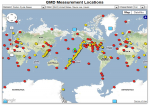Sites around the world that are monitoring CO2 and other gases in the atmosphere.
