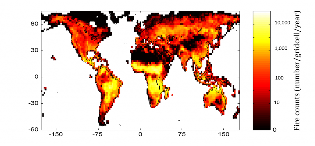 Annual firecounts from the NASA MODIS sensor on the Terra satellite.  Nearly 2 million fires happen every year!