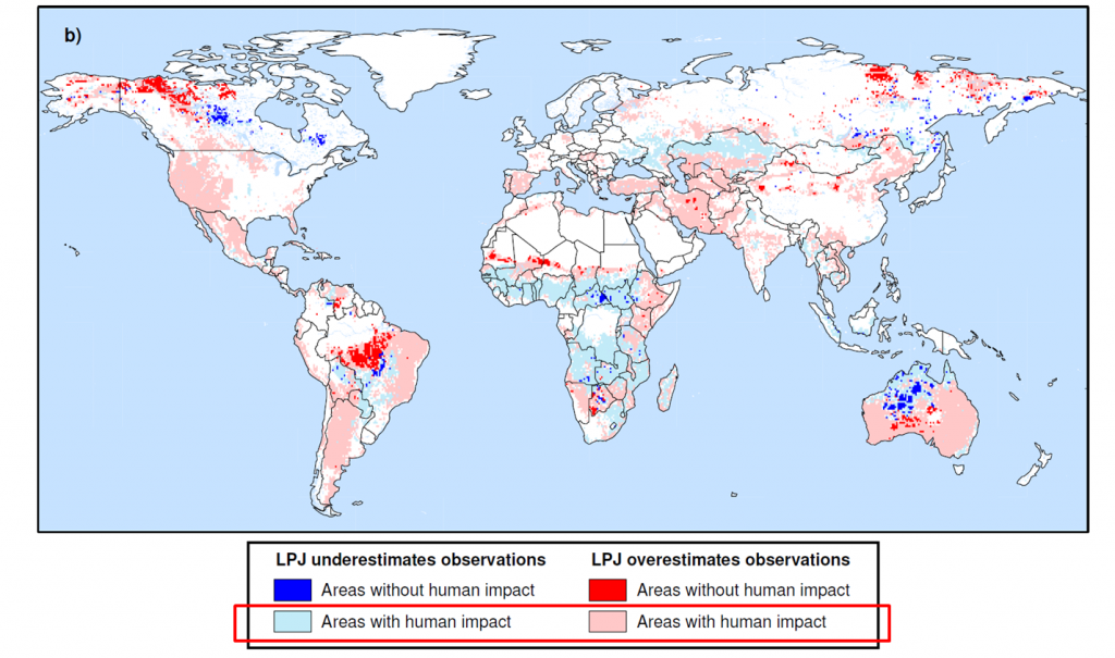 Lighter colors indicate that regions with larger discrepancies from observations are in areas impacted most by humans.  Are humans agents in fire patterns?  Are they responsive?