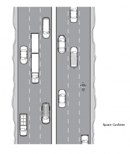 Diagram providing an example of proper riding position; a biker figure is shown with ample space between it and other motor vehicles