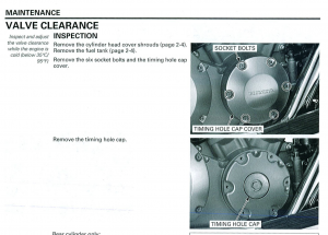 Valve clearance instructions with photo images